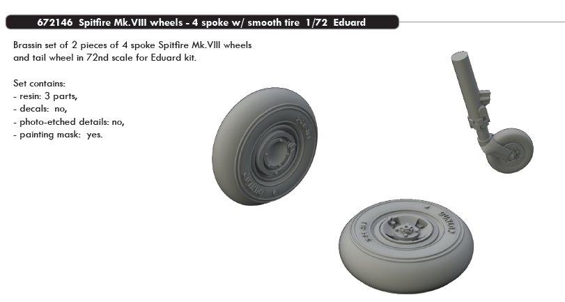 EDUARD BRASSIN 672146 Wheels 4 Spoke w//Smooth for Spitfire Mk.VIII in 1:72