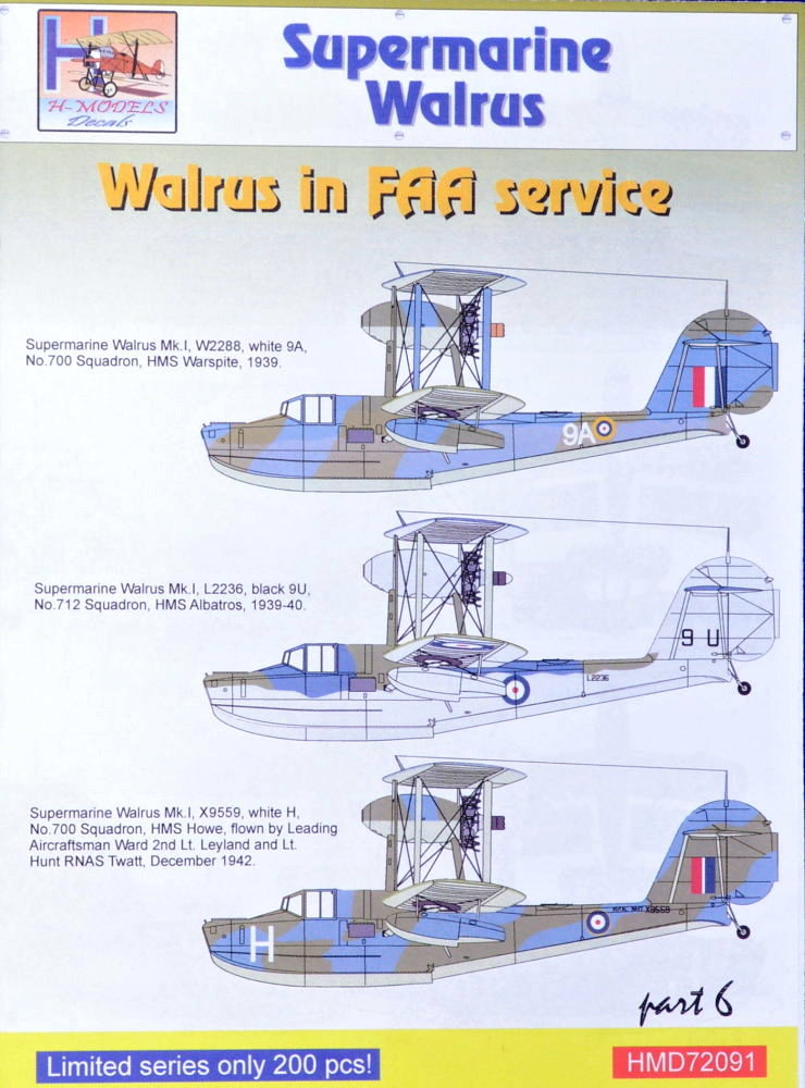 MODELIMEX Online Shop | 1/72 Decals Superm  Walrus Mk I FAA Service