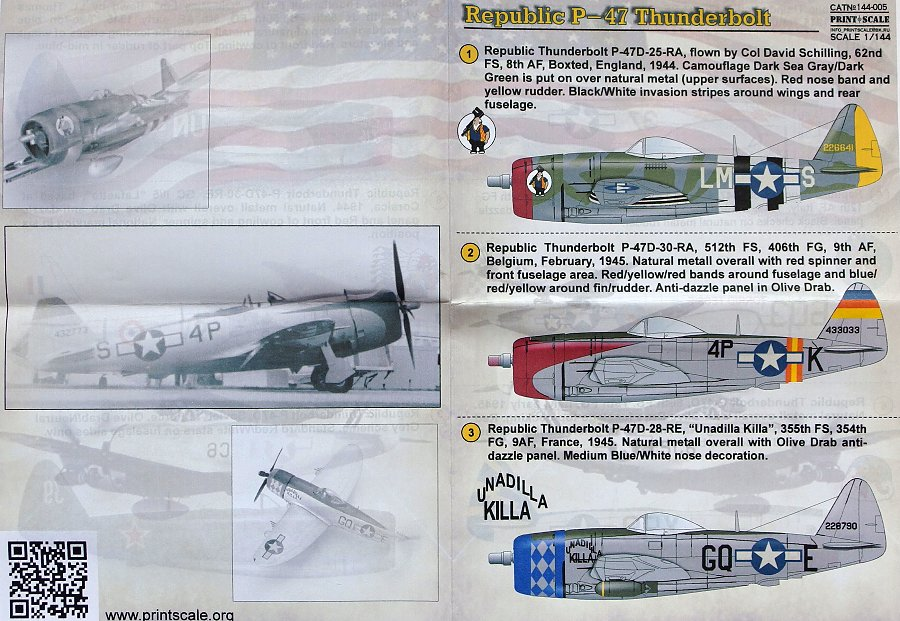 Print Scale 144-005 Decal for Republic P-47 Thunderbolt 1:144
