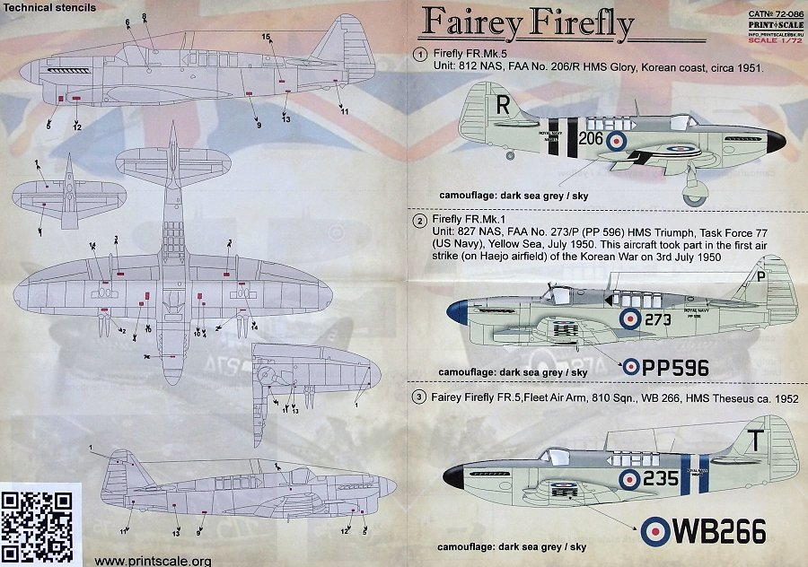 1//72 Decal for Fairey Firefly Aircraft wet decal Print Scale 72-086