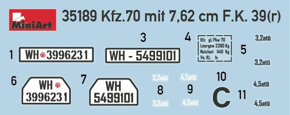 - Neu 39 r Miniart 35189-1//35 WWII Kfz.70 /& 7,62 cm F.K